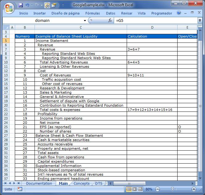 Definición del contenido de una taxonomía XBRL en Excel